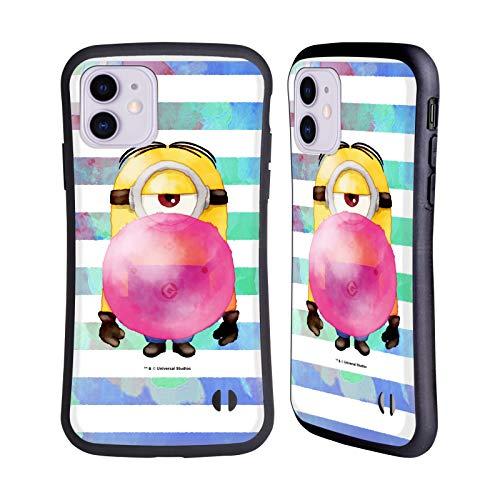 Head Case Designs Licenciado Oficialmente Despicable Me Stuart Bubble Gum Minions Acuarela Carcasa híbrida Compatible con Apple iPhone 11