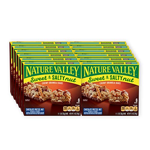 Nature Valley Chocolate Pretzel Nut, Sweet and Salty, 1.2 Ounce, 6 Count(Pack Of 12)