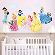 """Elements: 6 beatutiful princesses, flowers, clouds. Comes in 2 sheet, sheet size: 30cm × 90cm (11.8"""" × 35.4""""). DIY wall stickers, pasted freely according to your preferences. Ideal to decorate your girls bedroom, living room, nursery. It can be stuck..."""