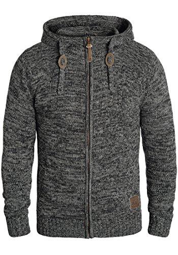 !Solid Pancras Herren Strickjacke Cardigan Grobstrick Winter Pullover mit Kapuze, Größe:M, Farbe:Black (9000)