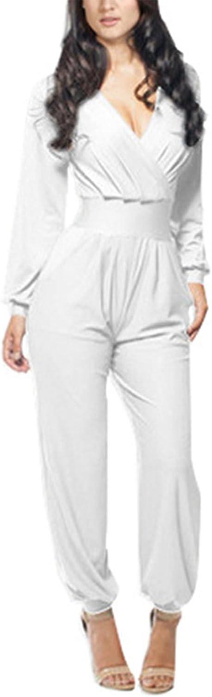 Engood Women's Long Sleeve Deep VNeck Comfy Harem Waist Jumpsuits Romper with Pockets