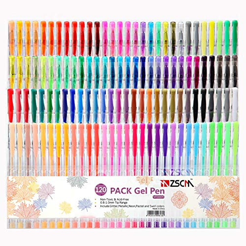 120 Colors Gel Pens Art Supplies for Adult Coloring Books, ZSCM Artist Glitter Neon Colored Gel Pens Set Art Markers Ink Pens for Kids Drawing Coloring Crafts Doodling Bullet Journaling Scrapbooks