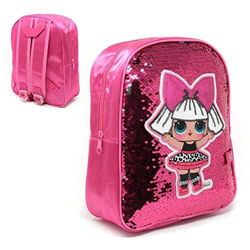 Pink & Silver Reversible Sequin LOL Surprise Backpack Rucksack Luggage Carrier Kids School Travel Bag
