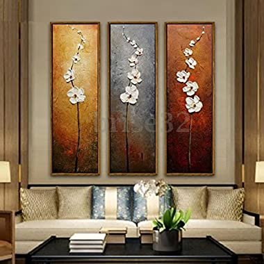 3Pcs Colorful Flower Canvas Abstract Painting Print Art Wall Home Decor Unframed