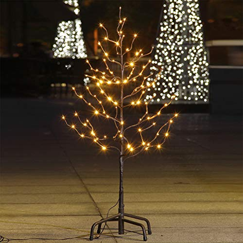 Lightshare 3Ft 112L Lighted Star Light Tree, Bright Warm White, Brown Branch