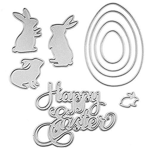 Metaal zilver snijden matrijzen, gelukkig paashaas eieren stencil sjabloon voor DIY Scrapbooking ambachtelijke decoratie kaart geschenken XXS ZILVER