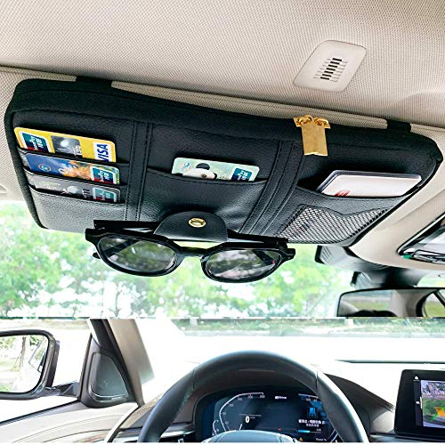 Da by,Car Sun Visor Organizer,Black,Auto Interior Accessories Pocket Organizer, Registration And Document Holder, Personal Belonging Storage Pouch Organizer, Interior Accessories Pocket Organizer