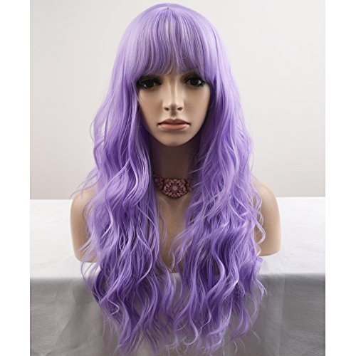 BERON 23'' Women Girls Lovely Synthetic Mix Color Long Curly Wigs Pin Curls with Neat Bangs Hairnet Included (Lavender Purple)