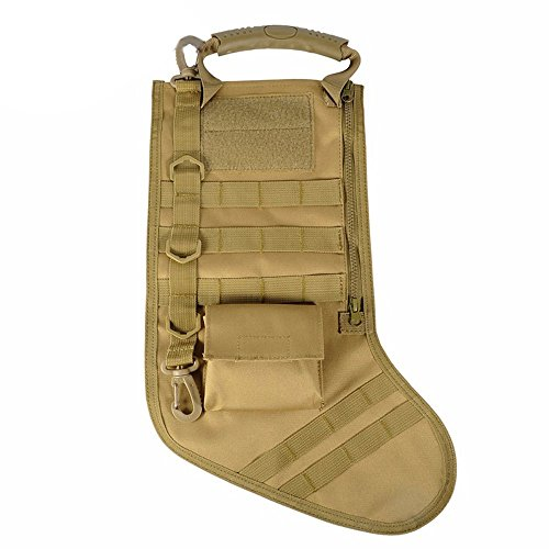 Tactical Christmas Stocking Bag Military Dump Drop Magazine Storage Bag EDC Molle Pouch for Christmas Ornament Decoration Gifts for Veterans Military Patriotic and Outdoorsy People, Tan