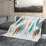 Mid Century Moderne Überwurfdecke für Sofa, Bett, Couch, Stuhl, weiche Fleecedecke, türkis, orange, Diamant, 50 x 60 cm, gemütliche Retro-Decke für Erwachsene Kinder Haustier