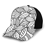 Sombrero de béisbol para el sol, diseño abstracto de follaje con escalas, diseño de líneas de doodle, ilustración de estilo pescador, sombrero de playa, protección solar morado para hombres y mujeres