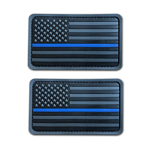 2 Pack 2x3.5 3D PVC Rubber Thin Blue Line US USA American Flag Patch Police Patch Hook-Fastener Backing (Gray)