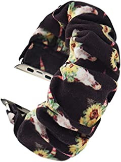 THOUSMOON Scrunchie Elastic Watch Band Compatible for Apple Watch,38mm 40mm / 42mm 44mm Light and Comfortable Watch Scrunchy Band Compatible with Iwatch Series 1/2/3/4 (Sunflower Skull, 42mm/44mm)