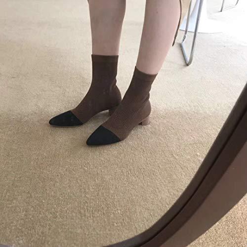 Shukun Enkellaarzen Retro Knit Colorblock Sokken Laarzen Vrouwelijke Punt Stretch Dikke Hiel Laarzen Dun Hout Met Hoge hak Sokken Laarzen