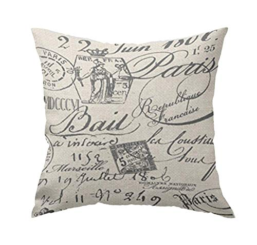 GETTOGET French Script Pillow Cover for Sofa or Bedroom Home Sofa Decorative Squares for Friend Girls Teens 18x18 in