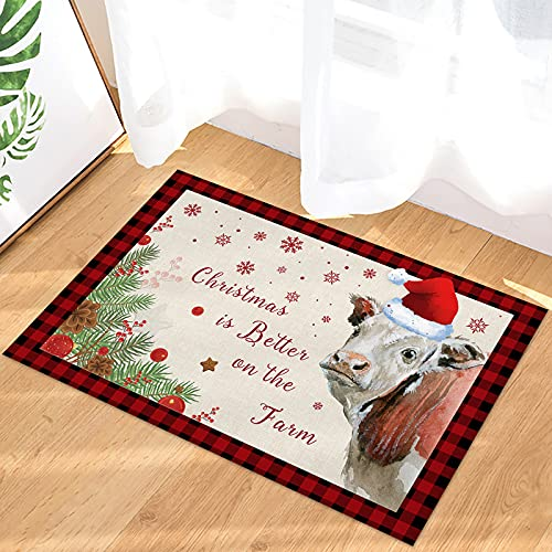 Indoor Doormat Front Door Mat Merry Christmas Funny Xmas Hat Cow Dreamy Snowflake Pine Cone Red Plaid Non Slip Rubber Back Floor Mat Entrance Low-Profile Welcome Mat Outdoor Rug for Home Office Garden