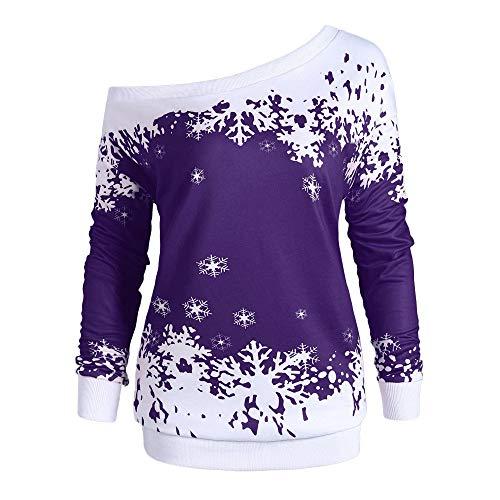 VEMOW Heißer Elegante Damen Frauen Frohe Weihnachten Weihnachtsmann Print Skew Kragen Casual Daily Party Freizeit Sweatshirt Bluse(X1-a-Violett, 46 DE / 5XL CN)