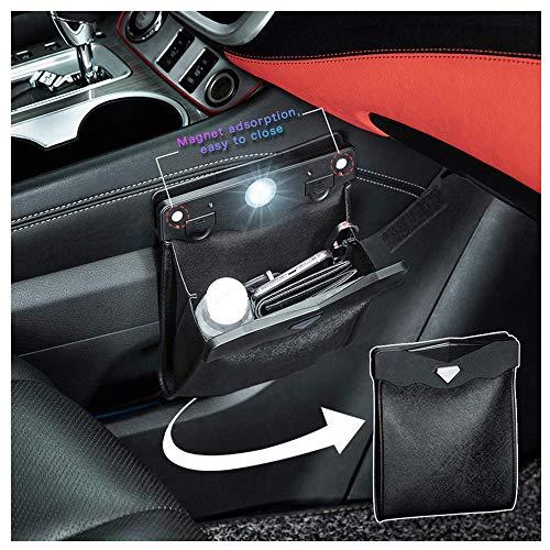 Auto Mülleimer LED-Licht Müllsack Silikon Wasserdicht Abfalleimer Faltbarer Rücksitz Hängen Abfall Tasche Container Lagerplatz Car Garbage Bag für Fahrzeuge (Schwarz)