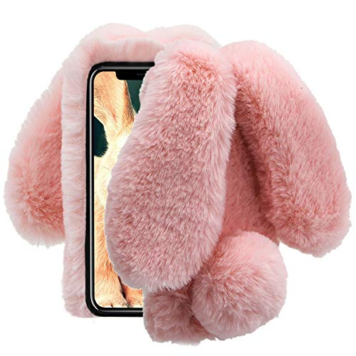 Aearl iPhone X Case,iPhone Xs Case,iPhone X Rabbit Fur Ball Case,Luxury Cute Diamond Winter Warm Soft Furry Fluffy Fuzzy Bunny Ear Plush Phone Cover for Girl Women-Pink(iPhone X/iPhone Xs 5.8 inch)