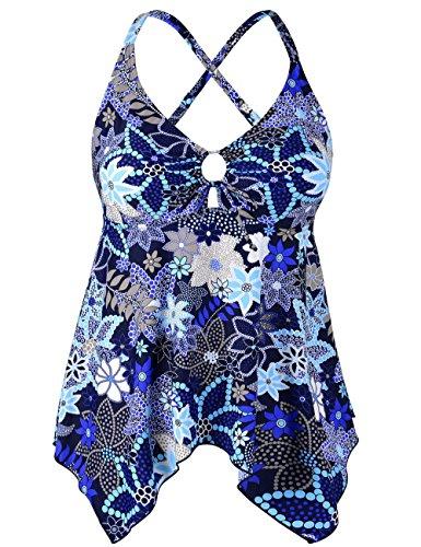 Firpearl Women's Black Flowy Swimsuit Crossback Plus Size Tankini Top US16 Blue Floral