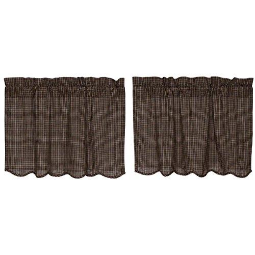 VHC Brands Country Black Primitive Kitchen Curtains Prim Grove Plaid Rod Pocket Cotton 24x36 Tier Pair
