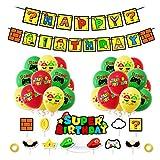 Super Mario Party Supplies Super Mario Globos Super Mario Cumpleaños Pancartas Decoración para Fiestas Adorno de Torta para Niños Ducha de Bebé Fiesta de Cumpleaños