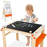 Joyooss Kids Wooden Art Easel, Adjustable Art Table, Chalkboard & Whiteboard Easel