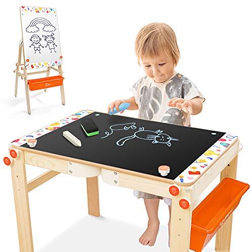 Joyooss Kids Wooden Art Easel, Adjustable Art Table, Chalkboard & Whiteboard Easel for Toddler with Drawing Supplies