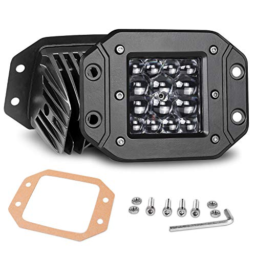 Flush Mount LED Pods, Nirider 2PCS 84W Bumper Lights 5 Inch Spot Beam Driving Lights LED Light Bar Flush LED Work Light Off Road Lights for Truck SUV ATV UTV Boat