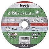 kwb 712115 AKKU-Top-Disco de Corte extrafino (150 mm de Velocidad, 150 x 1,2, para Amoladora Angular de Acero Inoxidable y Metal, Orificio de 22,23 mm), 150x1,2