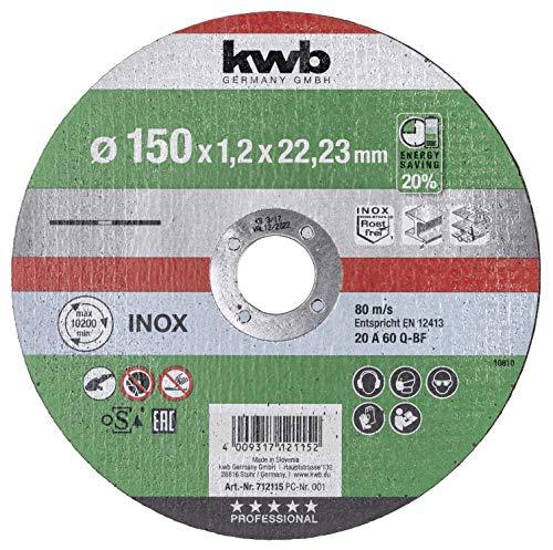 kwb 712115 AKKU-TOP-Disco de corte extrafino velocidad, 150 x 1,2, para amoladora angular de acero inoxidable y metal, orificio de 22,23 mm, Ø 150 mm