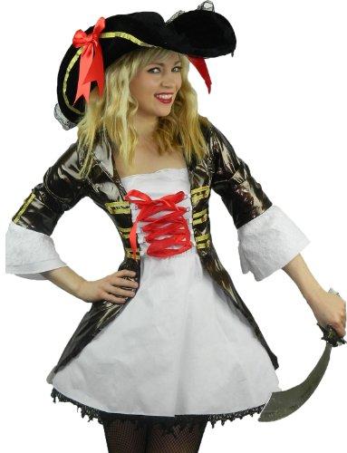 Yummy Bee Disfraz Pirata Capitán Seductor Fiesta de Disfraces Mujer Caribe Sombrero Tricorne Espada Sable Talla Grande 34 - 42 (Mujer: 34-36)