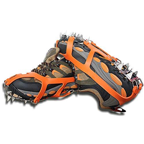 LGFV Crampons avec 18 Spikes en Acier Inoxydable Et en Caoutchouc De Haute Qualité pour Marche Randonnée Camping Alpinisme Chasse Escalade,Orange,39