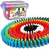 BAKAJI Confezione 200 Tasselli Gioco Domino Mattoncini in Legno Colorati Giocattolo Bambini per Costruzioni e Percorsi Effetto Domino Giochi di Abilità
