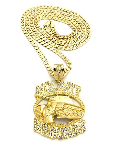 Crescendo SJ INC New ICED Out NO Limit Records Pendant &30' Dia-Cut Cuban Chain Necklace - XZP25CDC