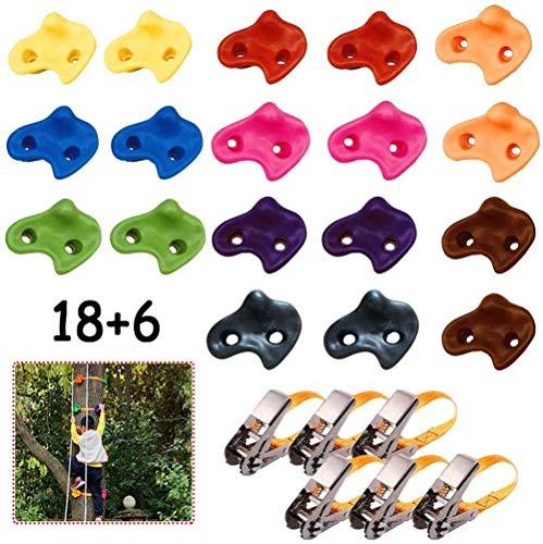 SXXJ Klettergriffe für Kinder Ninja-Klettergriffe für Bäume mit 18 rutschfesten Handgriffen und 6 Ratschenseilen für Hinterhof- oder Spielplatzzubehör für den Krieger-Hindernisparcours-1.5m