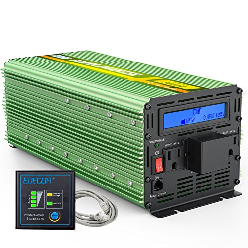 EDECOA 3000W Power Inverter Modified Sine Wave DC 12V to AC 110V Converter with Remote Controller and AC Terminal Block LCD Display