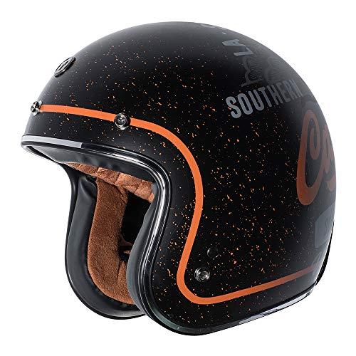 TORC T5015WC25 3/4 casco de cara abierta (negro plano, West Coast, XL)