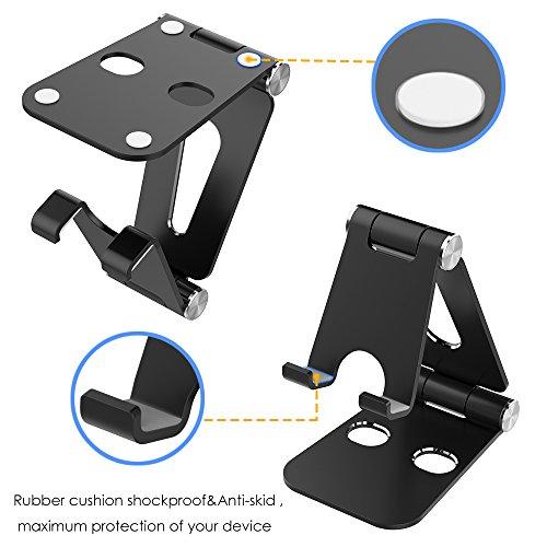 Simpeak Handy Ständer Verstellbare, Faltbar Aluminum Tablet Ständer Verstellbar Kompatibel mit 4-10 Zoll Handys und Tablets - Schwarz