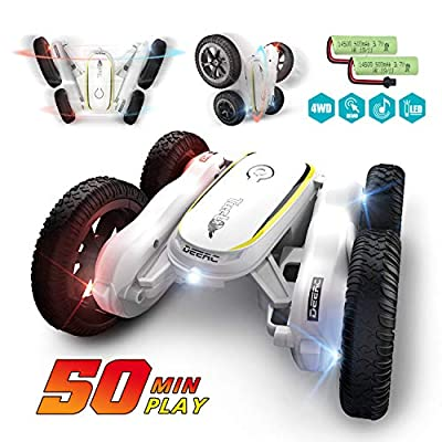 DEERC RC Cars Remote Control Stunt Car Toys for Kids, Demo Mode Music & Led Lights Control, 4WD Double Sided Fancy Rotating 360° Flips Vehicles, 2 Batteries for 50 Min Play, Toy Gifts for Boys & Girls