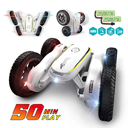 DEERC RC Stunt Cars Remote Control Car Toys for Kids, Demo Mode Music & Led Lights Control, 4WD Double Sided Fancy Rotating 360° Flips Vehicles, 2 Batteries for 50 Min Play, Toy Gifts for Boys & Girls