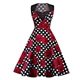 VESTIDOS Rosa Floral de Lunares Impresión Vintage Vestido de Fiesta de las Mujeres Swing Cremallera A Línea 50S Vestido Elegante Feminino Vestidos