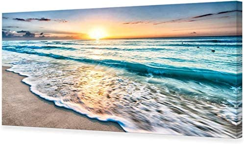 ZENDA Beach Sunset Wall Art Sea Waves Painting Home Decoration for Livingroom Bedroom Framed product image