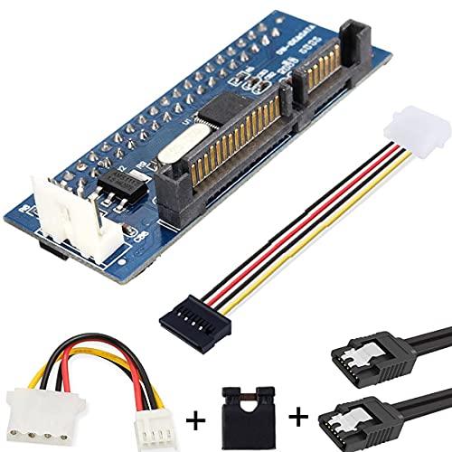 """Youmile Adaptador hembra PCBA IDE/PATA de 40 pines de disco a SATA Adaptador hembra PCBA Convertidor con tapa de puente y cable, para escritorio y unidad de disco duro de 3,5"""""""