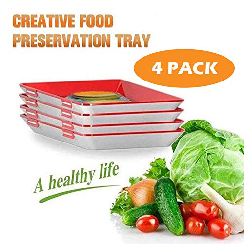 4 STK Creative Food Preservation Tray Kunststoffkonservierungsschale, Magic Elastic Film Buckle Vakuum-Siegel HäLt Lebensmittel Frisch, Kitchen Tools Seal VorratsbehäLter, Healthy Helper