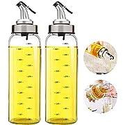 Olivenölspender Flasche - 2 Packung mit 500ml. Großer Olivenölspender Menage Edelstahl Ausgießer, Glas Speiseöl Essig Messspender Set für Küche und Grill