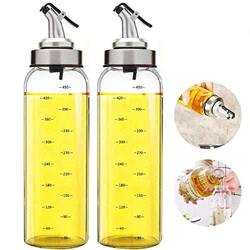 FARI Botella dispensadora de aceite de oliva - 500 ml botella de aceite de vidrio cruets sin goteo, recipiente de aceite para aceite de oliva vegetal, dispensador de aceite de vidrio sin plomo