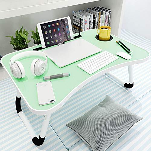 Laptop Bed Table, Opvouwbare Lap Bureau, met Card Slot Cup Slot en antislipvoetjes Pad, voor Living Room Slaapkamer,Green