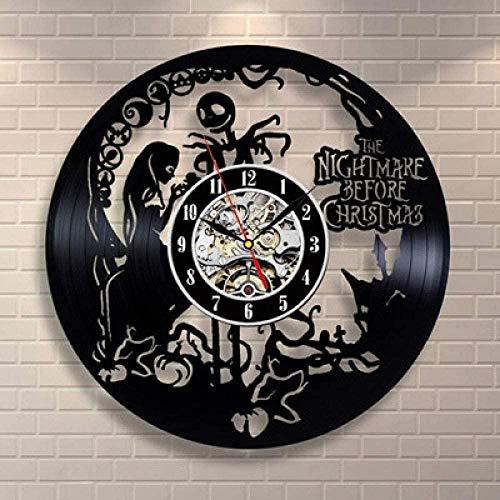 KDBWYC Disco de Vinilo Reloj Retro Pesadilla Antes del Reloj Reloj de Pared Reloj de Pared Retro Hecho a Mano decoración del hogar