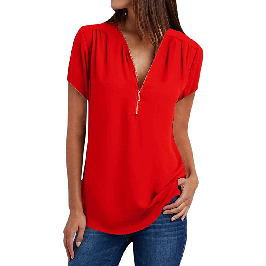 Womens Tops Plus Size Summer V Neck Zipper Blouses Casual Loose Short Sleeve Solid Pullover Tee Shirts Crop Top